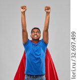 Купить «indian man in superhero cape makes winning gesture», фото № 32697499, снято 17 ноября 2019 г. (c) Syda Productions / Фотобанк Лори