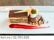Купить «Opera cake with chocolate ice cream», фото № 32701035, снято 15 июля 2020 г. (c) easy Fotostock / Фотобанк Лори