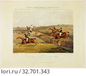 Dick Christian's Last Fall, from Grand Leicestershire Steeplechase, published 1830, Charles Bentley (English, 1806-1854), after Henry Alken (English, 1785... Редакционное фото, фотограф ARTOKOLORO QUINT LOX LIMITED / age Fotostock / Фотобанк Лори