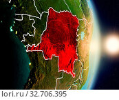 Купить «Democratic Republic of Congo during sunrise highlighted in red on planet Earth with visible country borders. 3D illustration. Elements of this image furnished by NASA.», фото № 32706395, снято 29 марта 2020 г. (c) easy Fotostock / Фотобанк Лори