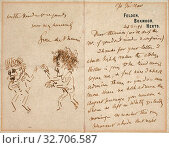 Купить «Letter with Drawing of Whistler Menacing Du Maurier, 1894, George Du Maurier, English, 1834-1896, France, Pen and brown ink on blue wove paper, with embossed printing, 162 × 192 mm (sheet)», фото № 32706587, снято 31 мая 2020 г. (c) age Fotostock / Фотобанк Лори