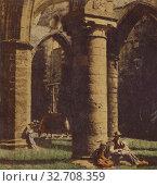 Voyage de Bretagne. Saint-Mathieu (Finistere) Ruines de l'Abbaye, No. 4., Furne Fils (French, active 1870s), about 1860, Albumen silver, hand-colored print (2019 год). Редакционное фото, фотограф ARTOKOLORO QUINT LOX LIMITED / age Fotostock / Фотобанк Лори