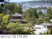 Купить «Panorama with Silver Pavilion (Kannonden), the Hondo and Togudo wooden halls. Garden of Ginkakuji shrine. Ginkaku-ji or Jisho-ji is a Zen temple in the Sakyo ward. Kyoto», фото № 32710351, снято 14 апреля 2013 г. (c) Кекяляйнен Андрей / Фотобанк Лори