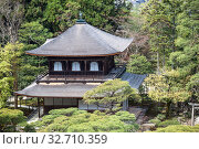 Купить «Aerial view at the Silver Pavilion or Kannonden (Kannon Hall). Natural moss garden of Ginkakuji shrine. Ginkaku-ji or Jisho-ji is a Zen temple in the Sakyo ward. Kyoto», фото № 32710359, снято 14 апреля 2013 г. (c) Кекяляйнен Андрей / Фотобанк Лори