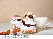 Купить «Sweet tasty milk curd creamy food in a glass jar of homemade breakfast. Cheesecake, English Trifle, Eton dessert, tiramisu, zuppa Inglese with nuts, almonds, cashews, hazelnuts, candied fruits and chocolate sauce», фото № 32710503, снято 14 декабря 2019 г. (c) Светлана Евграфова / Фотобанк Лори