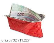 Открытый красный кошелек с бумажными купюрами. Изолировано на белом фоне. Стоковое фото, фотограф Элина Гаревская / Фотобанк Лори