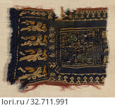 Купить «Fragment, Roman period (30 B.C.–641 A.D.), 3th/6th century, Coptic, Egypt, Egypt, Wool, tapestry weave, 12.1 × 15.4 cm (4 3/4 × 6 1/16 in.)», фото № 32711991, снято 20 января 2020 г. (c) age Fotostock / Фотобанк Лори