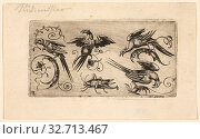 Купить «Ornament Panels with Birds: Plate 3, 1617, Adrian Muntink, Dutch, active 1597-1617, Netherlands, Engraving in black on paper, 51 x 98 mm (plate)», фото № 32713467, снято 2 июля 2020 г. (c) age Fotostock / Фотобанк Лори