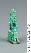 Amulet of the Goddess Mut, Late Period–Ptolemaic? (about 7th–1st century BC), Egyptian, Egypt, Faience, 4.1 × 2.1 × 1.1 cm (1 5/8 × 13/16 × 7/16 in.) Редакционное фото, фотограф ARTOKOLORO QUINT LOX LIMITED / age Fotostock / Фотобанк Лори