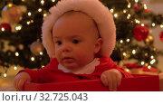 Купить «baby girl sitting in gift box over christmas tree», видеоролик № 32725043, снято 16 декабря 2019 г. (c) Syda Productions / Фотобанк Лори