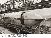 The Bennie Railplane. A form of rail transport invented by George Bennie (1891-1957), which moved along an overhead rail by way of propellers. From The Pageant of the Century, published 1934. Редакционное фото, фотограф Classic Vision / age Fotostock / Фотобанк Лори