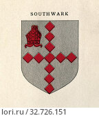 Coat of arms of the Diocese of Southwark, London, England. From Cathedrals, published 1926. Редакционное фото, фотограф Classic Vision / age Fotostock / Фотобанк Лори