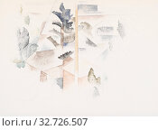Charles Demuth: Bermuda: Trees and Architecture, Charles Demuth, c. 1916–1917, Watercolor and graphite on wove paper, Charles Demuth began painting cubist... (2019 год). Редакционное фото, фотограф ARTOKOLORO QUINT LOX LIMITED / age Fotostock / Фотобанк Лори