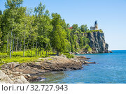 Купить «Split Rock Lighthouse is a lighthouse located southwest of Silver Bay, Minnesota, USA on the North Shore of Lake Superior. The structure was designed by...», фото № 32727943, снято 30 июля 2019 г. (c) age Fotostock / Фотобанк Лори