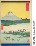 Pine Beach at Miho in Suruga Province (Suruga Miho no matsubara), from the series Thirty-six Views of Mount Fuji (Fuji sanjurokkei), 1858, Utagawa Hiroshige... Редакционное фото, фотограф ARTOKOLORO QUINT LOX LIMITED / age Fotostock / Фотобанк Лори