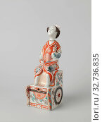 Купить «Spirit keg in the shape of a Japanese woman on a chariot, Cap in the shape of a head for gin jar made of porcelain, painted in underglaze blue and on the...», фото № 32736835, снято 5 июня 2020 г. (c) age Fotostock / Фотобанк Лори