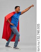 Купить «indian man in superhero cape makes winning gesture», фото № 32740935, снято 17 ноября 2019 г. (c) Syda Productions / Фотобанк Лори