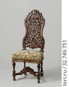 Купить «Chair Chair, Chair made of walnut. The furniture is upholstered and rests on baluster legs. The front cover is scalloped and adorned with acanthus leaves...», фото № 32749751, снято 4 июля 2020 г. (c) age Fotostock / Фотобанк Лори
