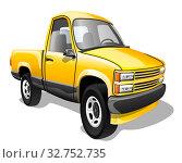 Купить «Мультяшные грузовой автомобиль пикап изолированно на белом фоне. Векторная иллюстрация.», иллюстрация № 32752735 (c) Рожков Юрий / Фотобанк Лори