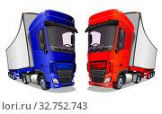 Купить «Мультяшные грузовые автомобили изолированно на белом фоне. Векторная иллюстрация.», иллюстрация № 32752743 (c) Рожков Юрий / Фотобанк Лори