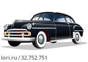 Купить «Старый мультияшный легковой ретро автомобиль на белом фоне, векторная иллюстрация», иллюстрация № 32752751 (c) Рожков Юрий / Фотобанк Лори
