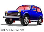 Купить «Старый мультияшный легковой ретро автомобиль на белом фоне, векторная иллюстрация», иллюстрация № 32752759 (c) Рожков Юрий / Фотобанк Лори