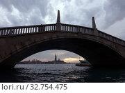 Venice, Italy, view of the island San Giorgio Maggiore in the bay of San Marco (2016 год). Редакционное фото, агентство Caro Photoagency / Фотобанк Лори