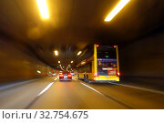 Купить «Berlin, Germany, Dynamics, Motorway travel in a tunnel on the A 100», фото № 32754675, снято 22 апреля 2018 г. (c) Caro Photoagency / Фотобанк Лори
