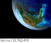 Купить «North America from space on a beautifully crafted 3D model of Earth with bright city lights. 3D illustration. Elements of this image furnished by NASA.», фото № 32762419, снято 27 мая 2020 г. (c) easy Fotostock / Фотобанк Лори