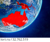 Купить «Australia on model of planet Earth with country borders and very detailed planet surface and clouds. 3D illustration. Elements of this image furnished by NASA.», фото № 32762519, снято 26 мая 2020 г. (c) easy Fotostock / Фотобанк Лори