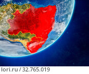 Купить «Mercosur memebers on model of planet Earth with country borders and very detailed planet surface and clouds. 3D illustration. Elements of this image furnished by NASA.», фото № 32765019, снято 27 мая 2020 г. (c) easy Fotostock / Фотобанк Лори