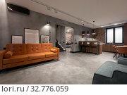 Купить «Cozy interior design of contemporary light spacious studio apartment», фото № 32776059, снято 29 августа 2019 г. (c) Ekaterina Demidova / Фотобанк Лори