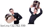 Купить «Funny man with drum on white», фото № 32782199, снято 13 мая 2013 г. (c) Elnur / Фотобанк Лори