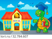 Turtle teacher theme image 3 - picture illustration. Стоковое фото, фотограф Zoonar.com/Klara Viskova / easy Fotostock / Фотобанк Лори