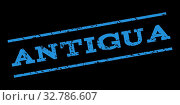 Antigua watermark stamp. Text tag between parallel lines with grunge design style. Rubber seal stamp with scratched texture. Glyph blue color ink imprint on a black background. Стоковое фото, фотограф ZOONAR GMBH LBRF / easy Fotostock / Фотобанк Лори