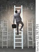 Купить «The career progression concept with various ladders», фото № 32787751, снято 5 июля 2020 г. (c) Elnur / Фотобанк Лори