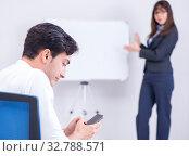 Купить «Business presentation in the office with man and woman», фото № 32788571, снято 7 августа 2017 г. (c) Elnur / Фотобанк Лори