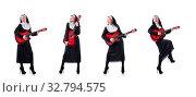 Купить «Nun playing guitar isolated on white», фото № 32794575, снято 4 января 2013 г. (c) Elnur / Фотобанк Лори