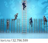 Купить «Competition concept with businessman beating competitors», фото № 32796599, снято 3 июля 2020 г. (c) Elnur / Фотобанк Лори
