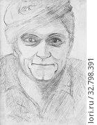 Купить «Portrait of a cheerful guy in a hat. Pencil drawing on paper», иллюстрация № 32798391 (c) Олег Хархан / Фотобанк Лори
