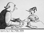 Купить «Papa Carlo carves sausages out of wood. Sausages for Pinocchio. Pencil drawing on paper», иллюстрация № 32798399 (c) Олег Хархан / Фотобанк Лори