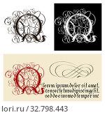 Decorative Gothic Letter Q. Uncial Fraktur calligraphy. Стоковая иллюстрация, иллюстратор Александр Володин / Фотобанк Лори