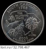 Монета 25 центов США. Штаты и территории. Южная Каролина. Стоковое фото, фотограф Владимир Макеев / Фотобанк Лори