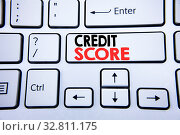 Купить «Word, writing Credit Score. Business concept for Financial Rating Record written on white keyboard key with copy space. Top view», фото № 32811175, снято 5 апреля 2020 г. (c) easy Fotostock / Фотобанк Лори