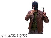 Купить «Robber wearing balaclava isolated on white background», фото № 32813735, снято 17 мая 2019 г. (c) Elnur / Фотобанк Лори