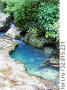Купить «Waterfalls on the mountain river. View from above», фото № 32815231, снято 17 июня 2019 г. (c) Евгений Ткачёв / Фотобанк Лори