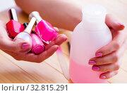 Купить «Beauty products nail care tools pedicure closeup», фото № 32815291, снято 31 мая 2017 г. (c) Elnur / Фотобанк Лори