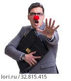 Купить «Funny clown with briefcase on white», фото № 32815415, снято 9 мая 2017 г. (c) Elnur / Фотобанк Лори