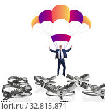 Купить «Businessman falling into trap on parachute», фото № 32815871, снято 8 апреля 2020 г. (c) Elnur / Фотобанк Лори