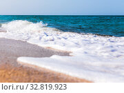 Купить «Foamy surf on a sandy tropical beach», фото № 32819923, снято 24 сентября 2019 г. (c) Евгений Ткачёв / Фотобанк Лори